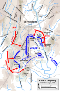 Positions and route of attacks for both armies on July 2. (Wikipedia)