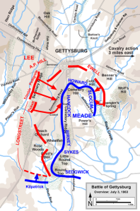 Positions and route of attacks for both armies on July 3. (Wikipedia)