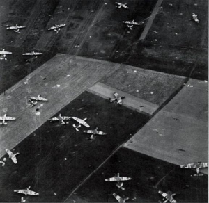 Gliders scattered across the fields of Normandy. (World War II Database)