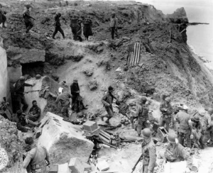 US Rangers along the cliffs of Pointe du Hoc. (Olive-Drab)