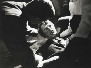 Even though fatally wounded, Robert F. Kennedy asks if anyone else is hurt. (The Sikh Archives)