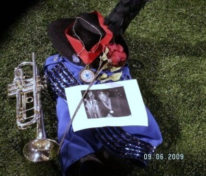 The Reading Buccaneers payed tribute to Geoff Silver by placing his uniform and trumpet on the field during the show and retreat. (Wendy Monhollan)