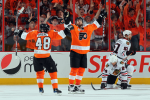 The line of Scott Hartnell-Danny Briere-Ville Leino shined during the 2010 playoffs. (Jim McIsaac/Getty Images)