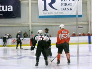 Team Orange and Team Black face off at the Flyers prospect camp. (Candice Monhollan)