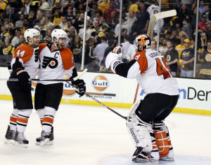 The Philadelphia Flyers made history with their amazing comeback in the series and Game 7 against the Boston Bruins. (Elsa/Getty Images)