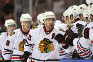 Patrick Sharp has been on fire since the start of the 2010-11 season for the Chicago Blackhawks. (Dilip Vishwanat/Getty Images)
