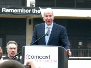 Comcast-Spectacor chairman Ed Snider closes the ceremony with his goodbye to the Spectrum. (Candice Monhollan)