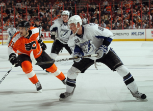 The Flyers and Lightning, including Steven Stamkos, put on a goal-scoring show for the fans at the Wells Fargo Center. (Bruce Bennett/Getty Images)