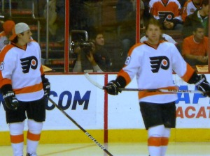 Danny Briere and Claude Giroux were two participants for Team White in the Puck Control Relay. (Candice Monhollan)