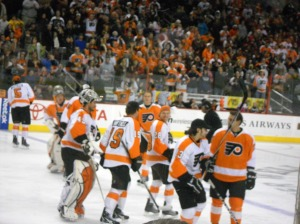 The fans and Flyers enjoyed their evening off fun at the Skills Competition. (Lauren Pizzi)