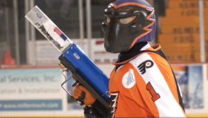 Phlex, the longtime mascot of the Phantoms, will be retiring in January. (Adirondack Phantoms)