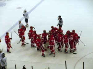 The Red Wings skate out to celebrate Pavel Datsyuk's overtime winner. (Candice Monhollan)