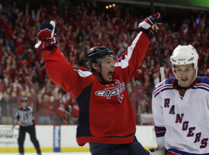 Alexander Semin was the hero Wednesday night in the first overtime game of the 2011 playoffs. (Bruce Bennett/Getty Images)
