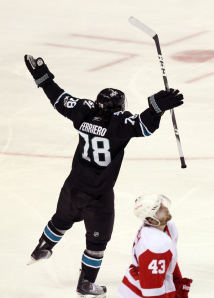 Benn Ferriero celebrates his 24th birthday with an overtime goal. (Ezra Shaw/Getty Images)