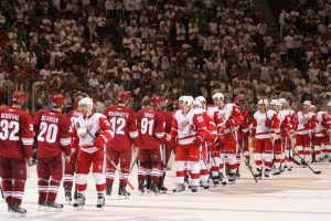 The Detroit Red Wings have become the first team to advance to the second round. (Christian Petersen/Getty Images)