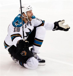 Joe Thornton proved to be clutch as he scored the game-winning goal to send San Jose to the next round. (AP