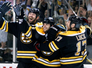 Nathan Horton celebrates his overtime heroics to advance the Bruins to the second round. (AP)