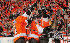 The Philadelphia Flyers were able to solve Ryan Miller and tie the series. (Len Redkoles/NHLI)