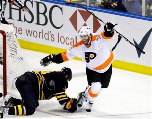 Ville Leino gave the Flyers new life in overtime as the Flyers survive to fight another day. (AP)
