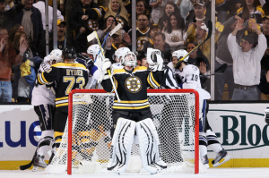 After allowing goal less than two minutes into the game, Tim Thomas was able to stop everything else shot his way. (Elsa/Getty Images)