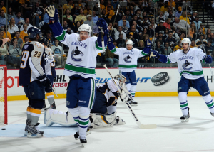 Daniel Sedin scored his first goal of the series, which would end up being the game winner. (Frederick Breedon/Getty Images)