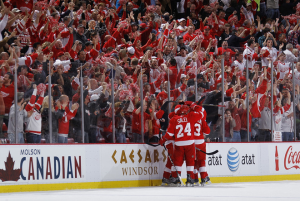 "The Red Wings' attitude of ""never say die"" has helped them push for a Game 7. (Gregory Shamus/Getty Images)"
