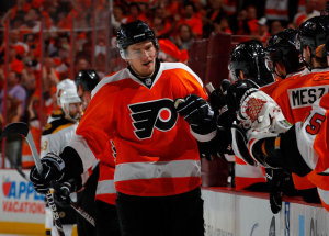 James van Riemsdyk has been lighting the lamp for the Philadelphia Flyers this postseason. (Paul Bereswill/Getty Images)