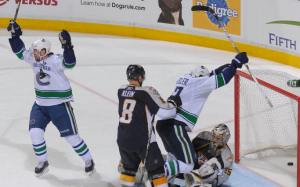 Ryan Kesler went nine games without a goal in the postseason before getting two in the 10th. (John Russell/NHLI)