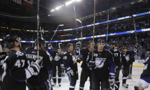 The Tampa Bay Lightning become the first team to advance to the Conference Finals. (Scott Audette/NHLI)
