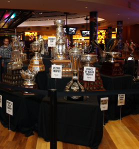 The Awards gathered on a table for the public to see. (Bruce Bennett/Getty Images)