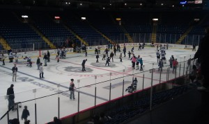 The Reading Royals enjoyed a postgame skate with the fans after the loss. (Candice Monhollan)