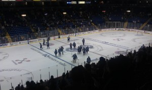 The Royals salute their fans after the win. (Candice Monhollan)