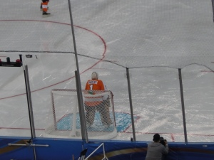 Bernie Parent was showered with cheers and applause at the Alumni Game. (Candice Monhollan)