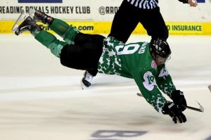 Mikael Bedard dives to the ice after scoring an overtime winner that also was his third of the night. (Reading Royals)