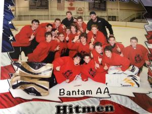 The PA Hitmen Bantam AA team with coaches Ryan Cruthers and Matt Herneisen. (Ryan Cruthers)