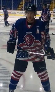 The Royals donned special patriotic jerseys Saturday night for Veteran's Day weekend. (Candice Monhollan)