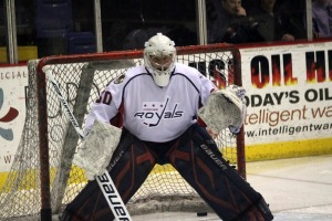 Riley Gill posted his second career shutout in the playoffs. (Candice Monhollan)