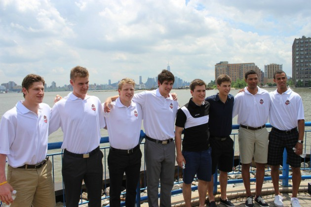 Eight of the top prospects met with members of the media along the Hudson River Friday afternoon [From left to right: Nathan MacKinnon, Aleksander Barkov, Hunter Shinkaruk, Sean Monahan, Jonathan Drouin, Zachary Fucale, Seth Jones, Darnell Nurse]. (Candice Monhollan)