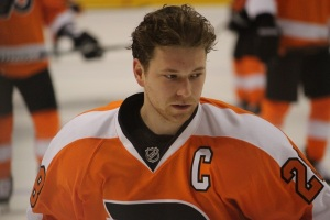 Captain Claude Giroux had two assists and a stellar move in the shootout Thursday night. (Candice Monhollan)