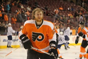 Jakub Voracek continued on his hot streak with another goal Monday night. (Candice Monhollan)