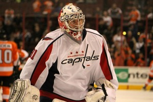 Philipp Grubauer made his NHL debut in relief of Braden Holtby on Feb. 27. (Candice Monhollan)