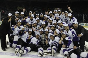 The Reading Royals defeated the Stockton Thunder, 6-0, in Game 5 of the Kelly Cup Finals Saturday night to clinch the ECHL championship. (Candice Monhollan)