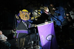 Slapshot excites the crowd before the Reading Royals players hit the ice. (Candice Monhollan)