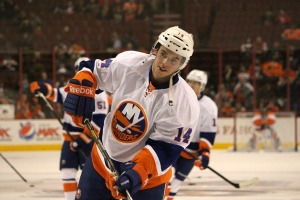 Thomas Hickey has one goal and two assists in 31 games with the New York Islanders. (Candice Monhollan)