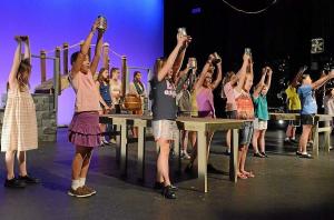 Children rehearse for a Facetime Community Theatre production. (Lisa Starczewski)