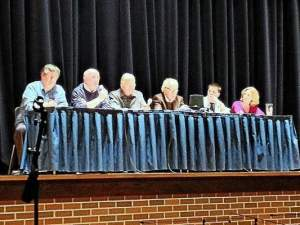 Participating in a Oct. 17 panel discussion with Unionville High School students on Abraham Lincoln and the Civil War are, from left, Chris Densmore, Frank McNally, Ernie Milner, Walter Eckman, Cody Stafford and Fran Mulhern.  (Candice Monhollan)