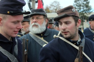 Mike Donellan, Lew Ulrich and John Haynes, Jr., line up to begin the parade at the 150th Remembrance Day in Gettysburg Nov. 23. (Candice Monhollan)