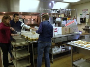 Volunteers cook soup for Meals on Wheels at the Catholic Social Charities Jan. 20. (Candice Monhollan)