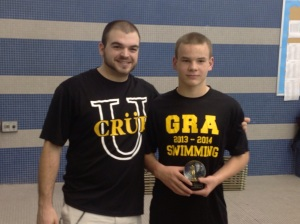 Seventh grader Matt Magness, right, a member of the Golden Rams Aquatics, broke the 11-12 National Age Group record in December. (Michele Magness)