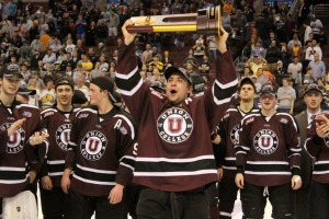 Cole Ikkala finished his hockey career with the National Title after a 7-4 win over Minnesota. (Candice Monhollan)
